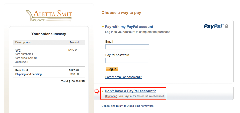 Payment without paypal