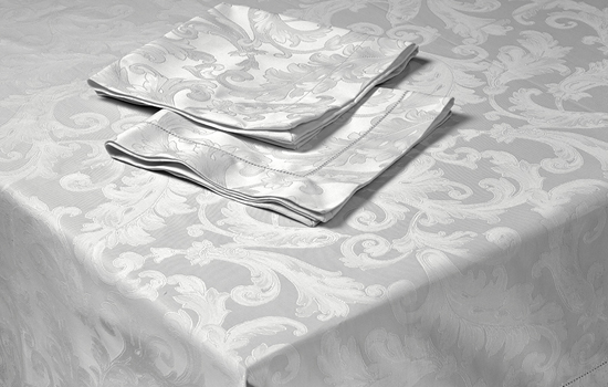Custom Cotton Damask Tablecloth White