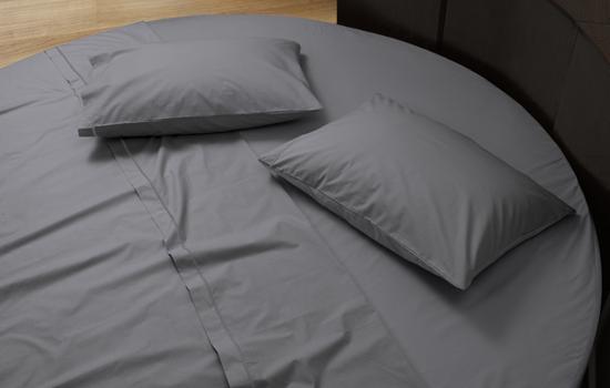 Lenzuola su misura con elastico per letto rotondo in raso di cotone ...