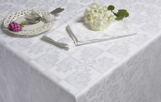 White Damask Tablecloth